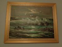 Original Oil Painting Seascape in Gold Colour Frame
