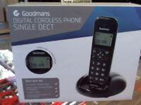 GOODMANS DIGITAL SINGLE CORDLESS PHONE, BOXED, 6 MONTHS WARRANTY