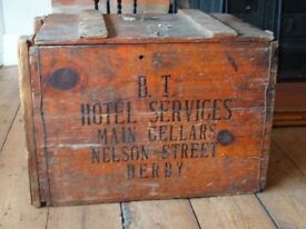 "ORIGINAL ""BRITISH TRANSPORT"" CHEST / TRUNK ~ 1940/50s"