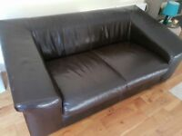 TWO BROWN LEATHER 2-3 SEATER SOFAS X 2 - MUST GO ASAP - CHEAP DELIVERY