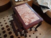 Nest of 3 Tables- Marble top and wooden frame
