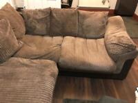 Lush Corded Brown corner sofa