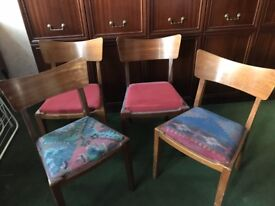 Set of 4 vintage chairs for Up-cycle project.
