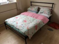 Black metal framed double bed & FREE mattress