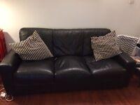 FREE black leather 3 seater sofa
