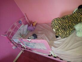 Girls Pink Hearts Single Bed Metal Frame