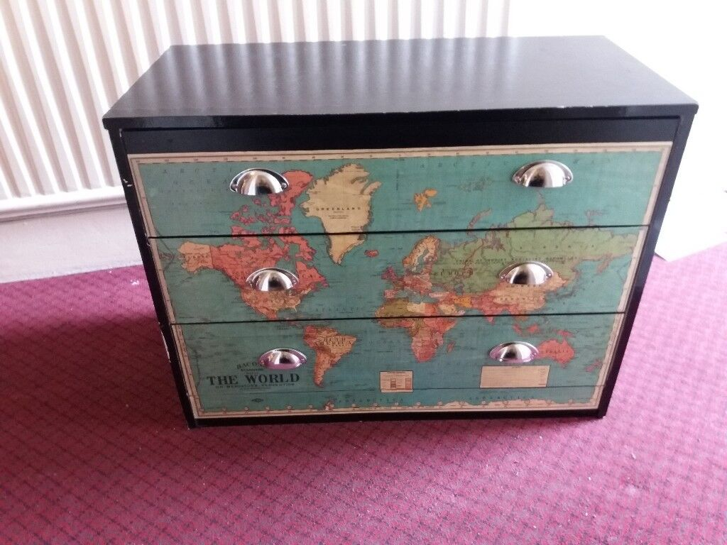 Wooden Chest Of Drawers With World Map Solid Clean And In Very Good
