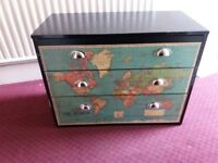 Wooden Chest of drawers, with World map, solid, clean and in very good condition.