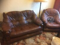 Dark brown leather/wood 3 piece suite. Excellent condition