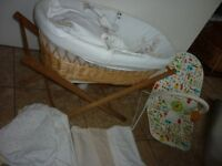 Moses Basket Hard Wicker with Leather Handles Winnie Pooh Covers, Bedding, Wooden Stand & Chair