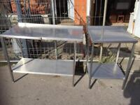 Commercial/ catering Stainless Steel Double and single Prep tables