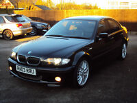 BMW 3 SERIES 325i M SPORT SALOON 4 DOOR AUTO BLACK XENONS LEATHERS F.S.H+LONG MOT £2295
