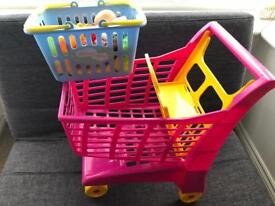 Toy shopping trolly and basket