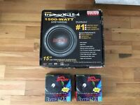 "Earthquake 15"" 1500watts Subwoofer and two Dragster 6.5"" inches 300watts/each"