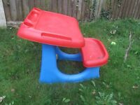 Childrens Sit 'N' Draw plastic desk with bench
