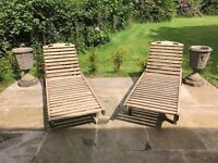 Pair of Original Vintage Hardwood Sun Loungers with Slide In-Trays