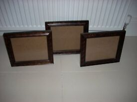 3 Dark Wood Photo Frames
