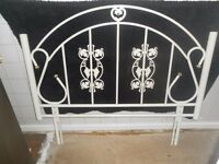 Ornate white metal double headboard