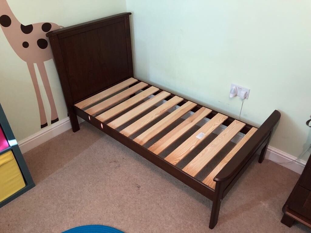 Dark Wooden Nursery Furniture Cot Bed Chest Of Drawers And Toy Box