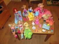 Selection of Barbie, Disney and other dolls and accessories