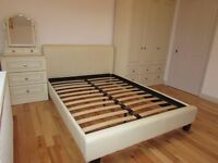 LOVELY CREAM BEDROOM SET,TRIPLE WARDROBE ,DOUBLE BED AND THREE DRAWER CHEST WITH VANITY MIRROR UNIT