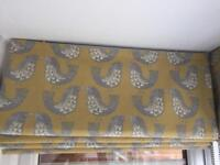 Brand new Scandi Bird mustard Roman blinds