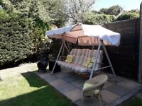 3 seater swing with canopy and cushions