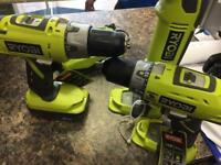 Ryoby 2 drill and angle grinder, battery and a charger