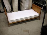 Small tiny little single wood bed frame and mattress 144 x 74 cm