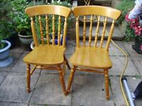 Chair x 2, solid pine, good condition and one chair is free