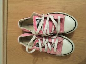 Girls pink Converse all stars size 1