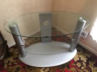 Glass & Silver Grey Oval TV Stand
