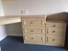 Bed side tables and 3 drawer chest units