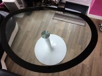 Glass egg shaped table