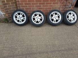 "Fiat Punto 15"" Alloy Wheels With Good Tyres Ready To Fit With Bolts"