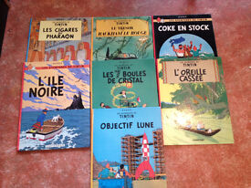 TINTIN BOOKS (7) IN FRENCH, GOOD CONDITION
