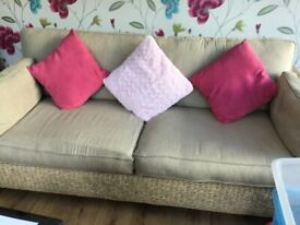Conservatory 3 seater and 2 seater wicker set with cream coloured cushions