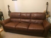 Italian leather dark brown large sofas; 3 and 2 seater
