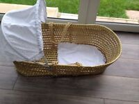 Wicker Moses Basket with hood and top cover in Ashton Vale Bs3 area Bristol