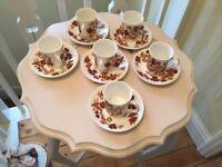 Elizabethan 6 X Coffee Cups And Saucers Vintage Meadow Flowers Bone China unused