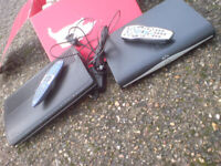 TWO CABLE AND SATELLITE TV MEDIA BOXES WITH REMOTES & HARD DRIVES