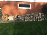 Cotswold stone walling / rockery and water feature items.