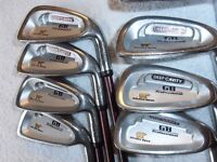 """GOLDEN BEAR "" Golf Clubs, 8 IRONS, 4 / SW With Graphite Shafts"