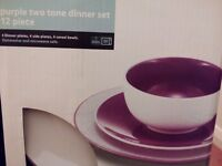 Purple 12 piece dinner set in box plus dot design side plates and soup bowls, all brand new.
