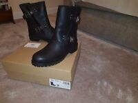 UGG Neils Womens Biker Black Leather Boots- Brand New- still in box with receipt unworn