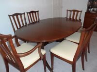 G Plan Mahogany Dining Table with six matching chairs