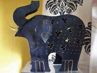 LARGE METAL ELEPHANT CANDLE HOLDER