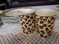 Tiger print dinner set, plates and coffee cups