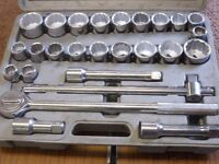 DRAPER 26 PIECE SOCKET SET WITH 3/4 DRIVE AS NEW