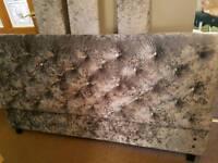 Gorgeous gunmetal grey crushed velvet upcycled/upholstered KING size bed frame